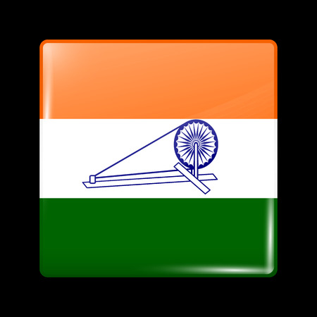 variant: India Swaraj Variant Flag. Glassy Icon Square Shape. This is File from the Collection Flags of Asia