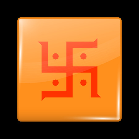 jain: India Jain Variant Flag. Glassy Icon Square Shape. This is File from the Collection Flags of Asia Illustration