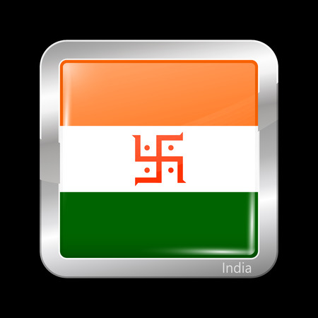 jain: India Jain Variant Flag. Metallic Icon Square Shape. This is File from the Collection Flags of Asia Illustration