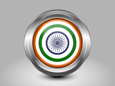 India Variant Flag. Metal Round Icons. This is File from the Collection Asian Flags