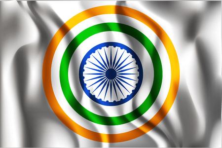 chakra: India Variant Flag. Rectangular Shape Icon with Wavy Effect Illustration