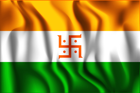 variant: India Jain Variant Flag. Rectangular Shape Icon with Wavy Effect