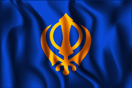 khanda: India Nishan Sahib Variant Flag. Rectangular Shape Icon with Wavy Effect
