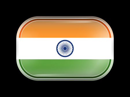 matted: Flag of India. Rectangular Shape with Rounded Corners. This Flag is One of a Series of Glass Buttons Illustration