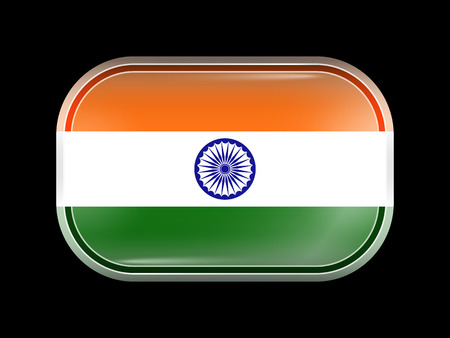 variant: India Variant Flag. Rectangular Shape with Rounded Corners. This Flag is One of a Series of Glass Buttons Illustration