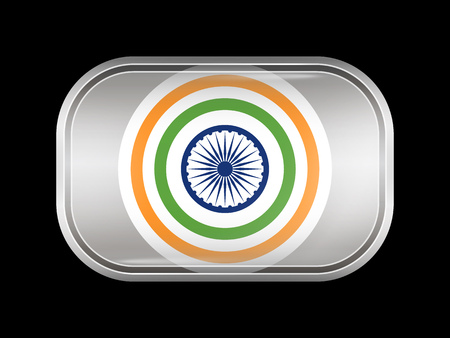 India Variant Flag. Rectangular Shape with Rounded Corners. This Flag is One of a Series of Glass Buttons Illustration