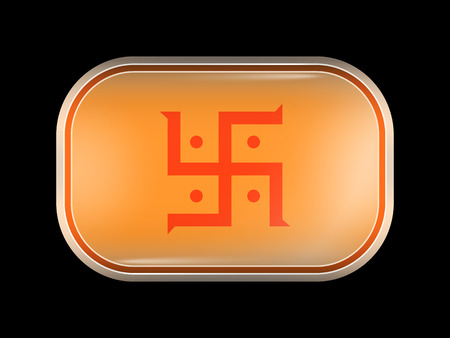 jain: India Jain Variant Flag. Rectangular Shape with Rounded Corners. This Flag is One of a Series of Glass Buttons Illustration