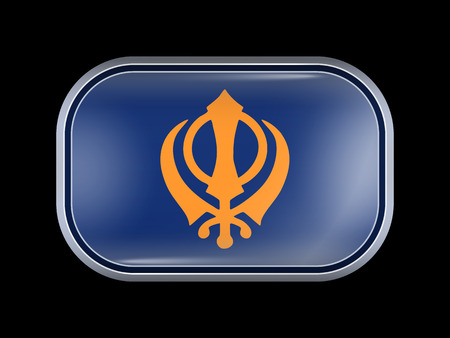 khanda: Nishan Sahib Variant Flag. Rectangular Shape with Rounded Corners. This Flag is One of a Series of Glass Buttons Illustration