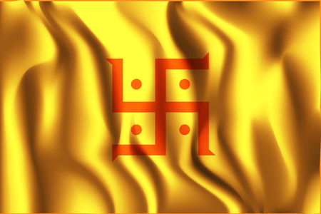 jain: India Jain Variant Flag. Rectangular Shape Icon with Wavy Effect
