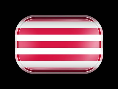 republik: Indonesia Variant Flag Naval Ensign. Rectangular Shape with Rounded Corners. This Flag is One of a Series of Glass Buttons