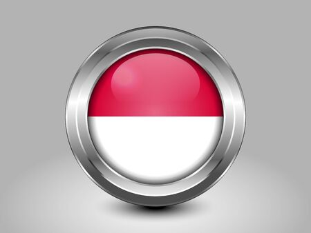Flag of Indonesia. Metal Round Icons. This is File from the Collection Asian Flags Illustration
