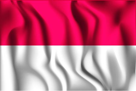 republik: Flag of Indonesia. Rectangular Shape Icon with Wavy Effect