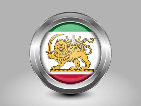 variant: Variant Flag of Iran with Lion and Sun Emblem. Metal Round Icons. This is File from the Collection Asian Flags