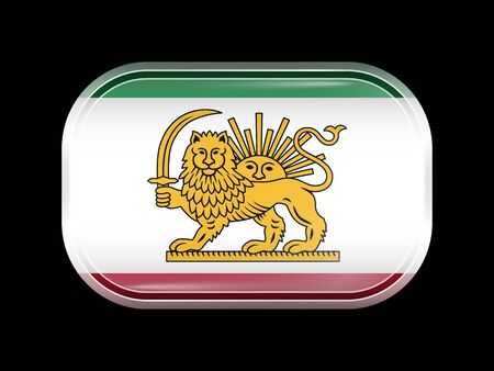 residential district: Variant Flag of Iran with Lion and Sun Emblem. Rectangular Shape with Rounded Corners. This Flag is One of a Series of Glass Buttons Illustration