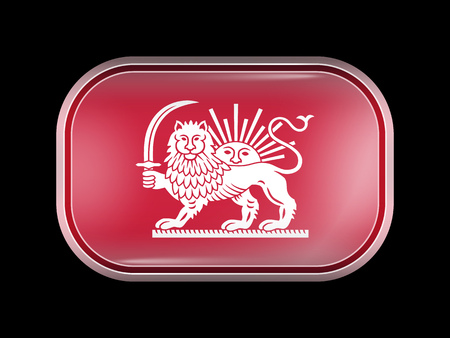 persia: Variant Flag of Iran with Lion and Sun Emblem. Rectangular Shape with Rounded Corners. This Flag is One of a Series of Glass Buttons Illustration