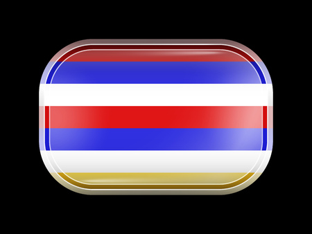 variant: Imperial Variant Flag of Iran. Rectangular Shape with Rounded Corners. This Flag is One of a Series of Glass Buttons Illustration