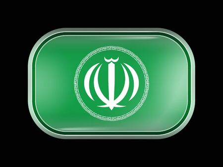 matted: Iran Variant Emblems. Rectangular Shape with Rounded Corners. This Flag is One of a Series of Glass Buttons