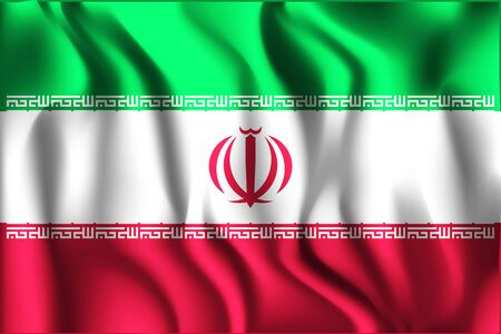 matted: Flag of Iran. Rectangular Shape Icon with Wavy Effect Illustration