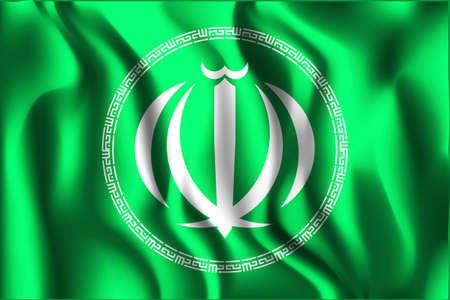 variant: Iran Variant Emblems. Rectangular Shape Icon with Wavy Effect Illustration