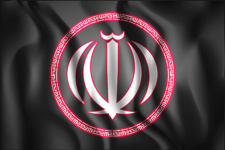 variant: Iran Variant Emblems. Rectangular Shape Icon with Wavy Effect Illustration