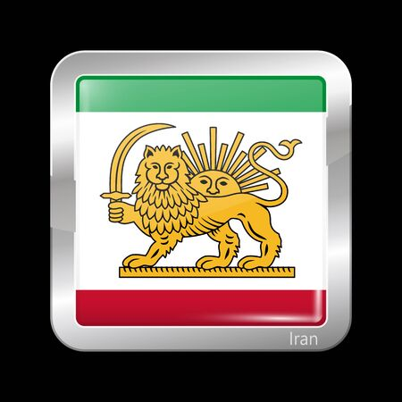 metallic  sun: Variant Flag of Iran with Lion and Sun Emblem. Metallic Icon Square Shape. This is File from the Collection Flags of Asia