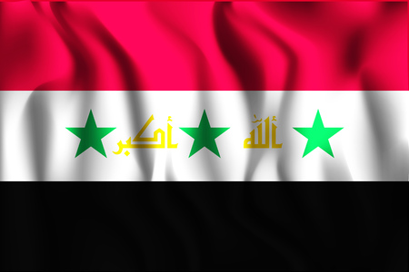 residential district: Proposed Flag of Iraq. Rectangular Shape Icon with Wavy Effect Illustration
