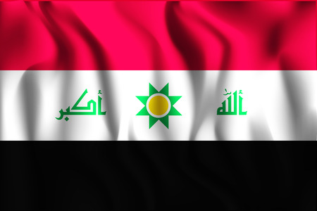 proposed: Proposed Flag of Iraq. Rectangular Shape Icon with Wavy Effect Illustration