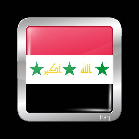 proposed: Proposed Flag of Iraq. Metallic Icon Square Shape. This is File from the Collection Flags of Asia