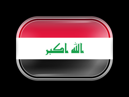 matted: Flag of Iraq. Rectangular Shape with Rounded Corners. This Flag is One of a Series of Glass Buttons