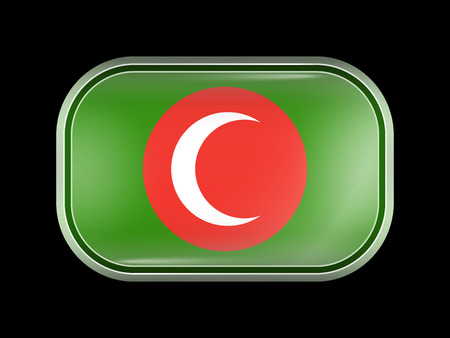 matted: Flag of Kurdistan Kingdom. Rectangular Shape with Rounded Corners. This Flag is One of a Series of Glass Buttons