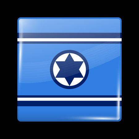 zion: Israel Variant Flag. Glassy Icon Square Shape. This is File from the Collection Flags of Asia