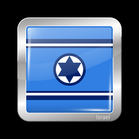 residential district: Israel Variant Flag. Metallic Icon Square Shape. This is File from the Collection Flags of Asia