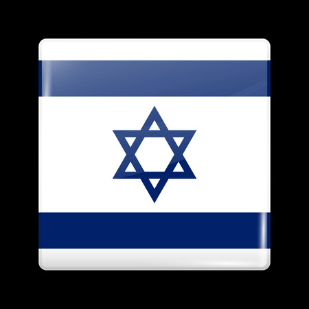 zion: Flag of Israel. Glassy Icon Square Shape. This is File from the Collection Flags of Asia Illustration