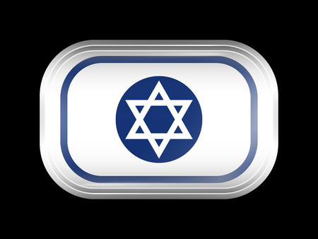 matted: Israel Variant Flag. Rectangular Shape with Rounded Corners. This Flag is One of a Series of Glass Buttons Illustration