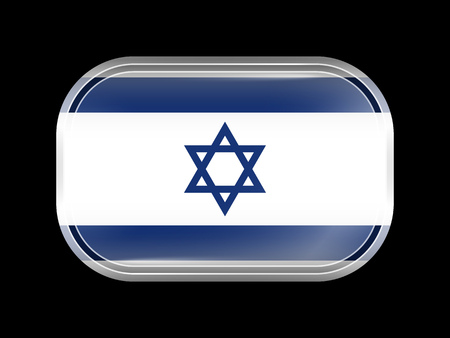 zion: Flag of Israel. Rectangular Shape with Rounded Corners. This Flag is One of a Series of Glass Buttons Illustration