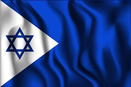 variant: Israel Variant Flag. Rectangular Shape Icon with Wavy Effect