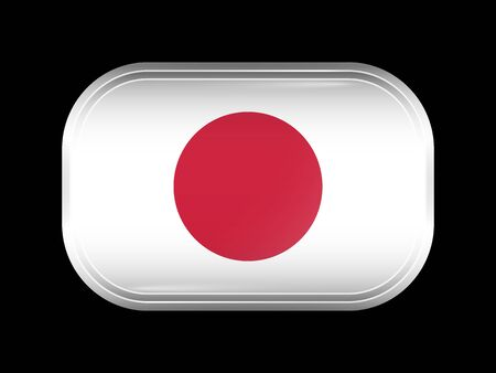 matted: Flag of Japan. Rectangular Shape with Rounded Corners. This Flag is One of a Series of Glass Buttons