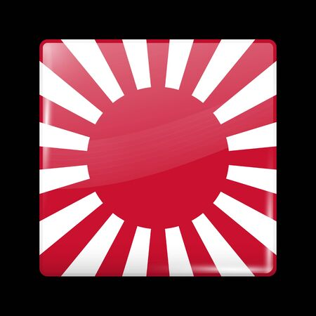 residential district: Flag of Japan. Glassy Icon Square Shape. This is File from the Collection Flags of Asia Illustration