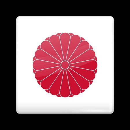 hinomaru: Flag of Japan. Glassy Icon Square Shape. This is File from the Collection Flags of Asia Illustration