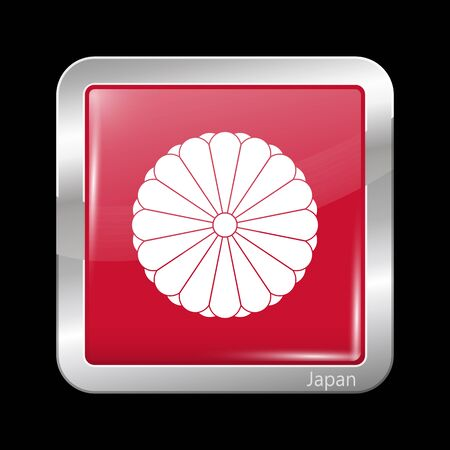 hinomaru: Flag of Japan. Metallic Icon Square Shape. This is File from the Collection Flags of Asia Illustration