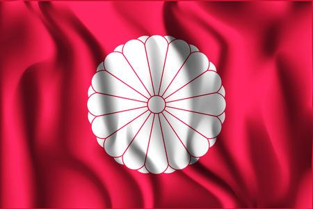 hinomaru: Flag of Japan. Rectangular Shape Icon with Wavy Effect