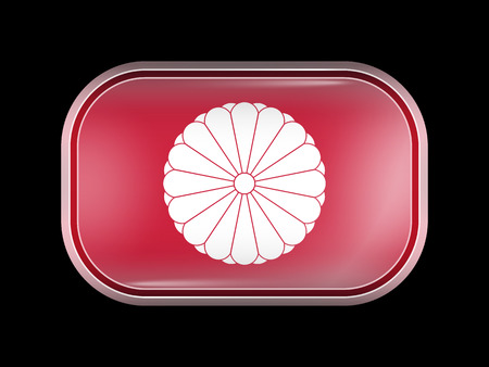 hinomaru: Flag of Japan. Rectangular Shape with Rounded Corners. This Flag is One of a Series of Glass Buttons