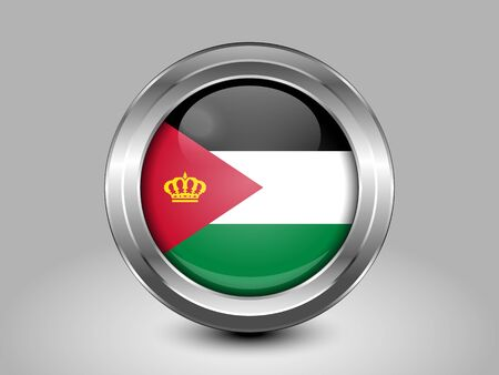 the hashemite kingdom of jordan: Jordan Variant Flag. Metal Round Icons. This is File from the Collection Asian Flags