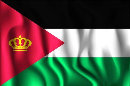 variant: Jordan Variant Flag. Rectangular Shape Icon with Wavy Effect