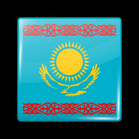 variant: Kazakhstan Variant Flag. Glassy Icon Square Shape. This is File from the Collection Flags of Asia