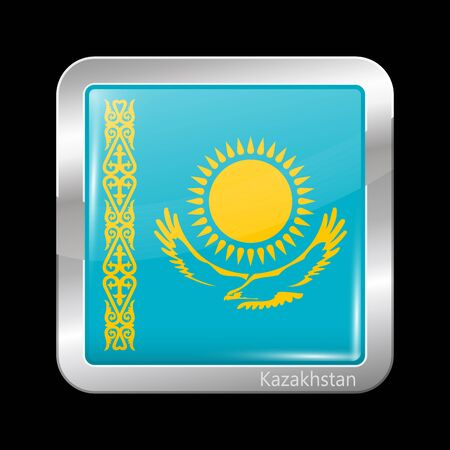 residential district: Flag of Kazakhstan. Metallic Icon Square Shape. This is File from the Collection Flags of Asia