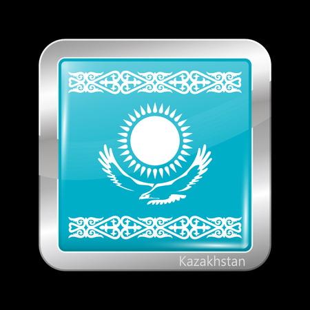 residential district: Kazakhstan Variant Flag. Metallic Icon Square Shape. This is File from the Collection Flags of Asia