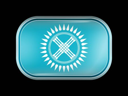 residential district: Flag of Kazakhstan. Rectangular Shape with Rounded Corners. This Flag is One of a Series of Glass Buttons