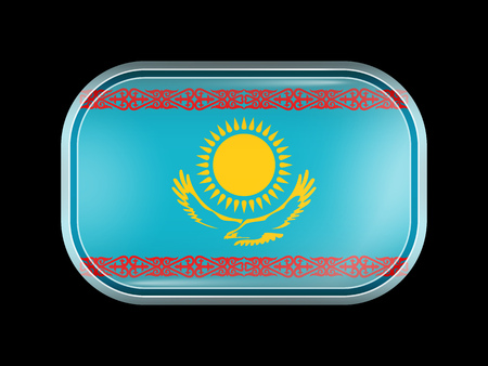 matted: Flag of Kazakhstan. Rectangular Shape with Rounded Corners. This Flag is One of a Series of Glass Buttons