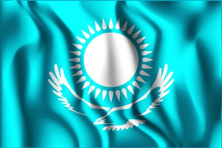 variant: Kazakhstan Variant Flag. Rectangular Shape Icon with Wavy Effect